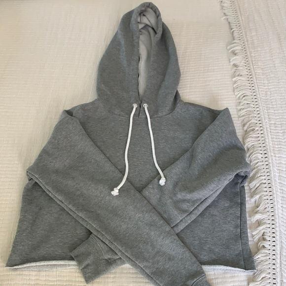 Fleece lined cropped sweatshirt